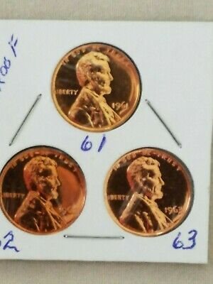 1961~2~&~3~Proof~ Lincoln Memorial~ Cent~ Penny - Choice Proof U.s. Coin In 2X2