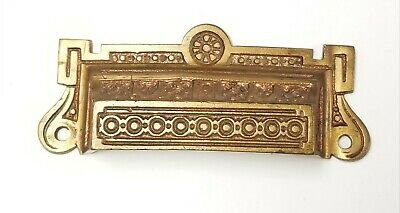 Antique VICTORIAN EASTLAKE Cast Iron ORNATE Drawer Bin Pull Cup Handle