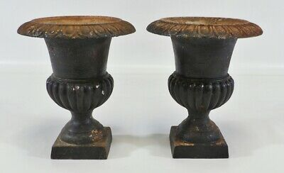 Antique French Medici Neoclassical Cast Iron Garden Urn Planter Set