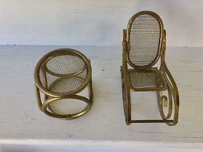 "Vintage LOT Brass Doll House Furniture 3"" Rocking Chair & 1 3/4"" Table Set"