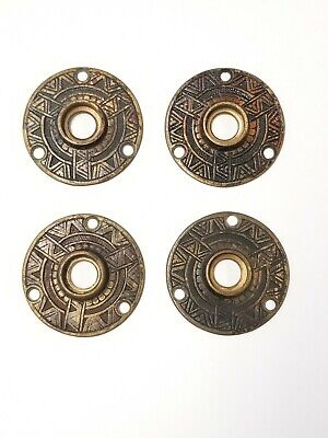 Antique Bronze Ornate Rosettes Escutcheon Lot of 4 Door Hardware