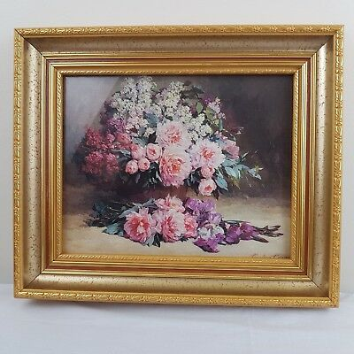 Lilacs and Peonies with Irises by Pauline Casper Print Gold Frame Floral Artwork