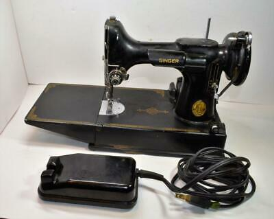 VTG 1948 Singer Featherweight 221-1 Electric Sewing Machine w/ case,pedal,access