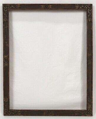 Antique Early 20th C Arts & Crafts Hand Carved Gold Frame 11 x 14 Opening