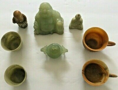 Antique Chinese Carved Jade Lot of 8 Assorted  Cup ,Buddha Etc..