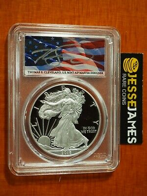 2016 W Proof Silver Eagle Pcgs Pr70 Flag Cleveland First Day Of Issue Fdi Pop 20