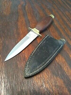Double Edged Dagger Boot Fixed Blade Knife With Sheath Wood Handle