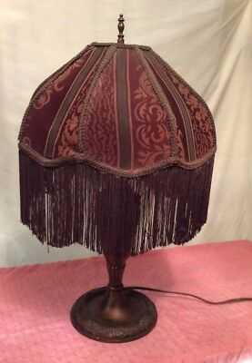 "Large 24"" Antique Victorian Bronze Double Pull Chain Lamp With Fringed Shade"