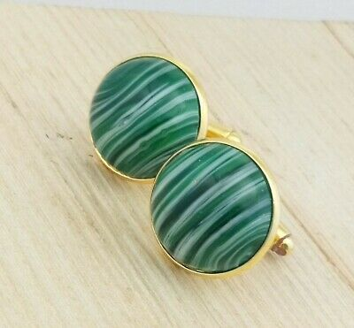 Vintage - 1950s Green White Agate Glass Large 20mm Round Goldtone Cufflinks