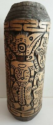 Papua New Guinea Ornately Carved Bamboo ? Lime Carrier  28Cm X 12Cm