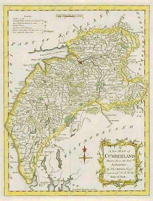 1764 Original Antique Map - CUMBERLAND by Thomas KITCHIN Hand coloured (07)