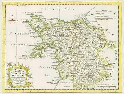 1764 Original Antique Map - NORTH WALES by Thomas KITCHIN Hand Coloured (45)