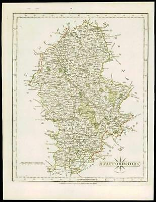 1793 Original Antique MAP of 'STAFFORDSHIRE' by John Cary Outline Colour (35)