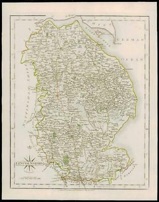 1793 Original Antique MAP of 'LINCOLNSHIRE' by John Cary Outline Colour (24)