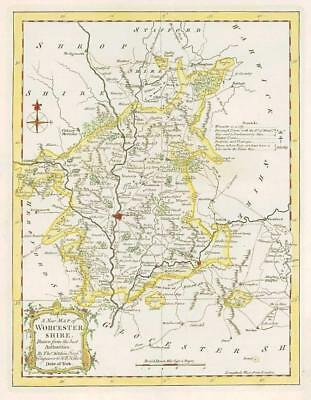 1764 Original Antique Map - WORCESTERSHIRE by Thomas KITCHIN Hand Coloured (40)