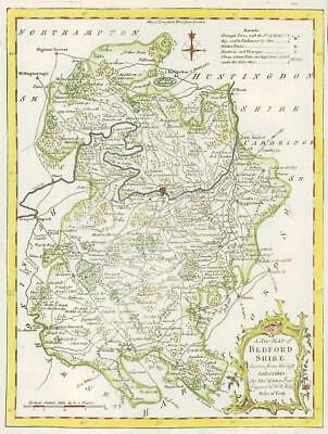 1764 Original Antique Map - BEDFORDSHIRE by Thomas KITCHIN Hand coloured (01)