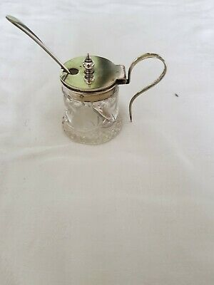 Cut glass mustard pot with silver plated lid and spoon