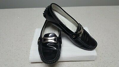 TODS 36 black leather comfort shoes . Slip on style . Leather lined