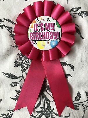 It's My Birthday Pink Ribbon Girls Party Pin Badge Happy Birthday Gift