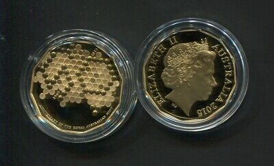 2015 50 Cent Proof Coin Australia ex PROOF Set GOLD PLATED 50th Anniversary RAM