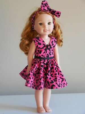 "Pink Party Dress & Headband, 14.5"" AG Wellie Wishers Doll Clothes / Doll Clothes"