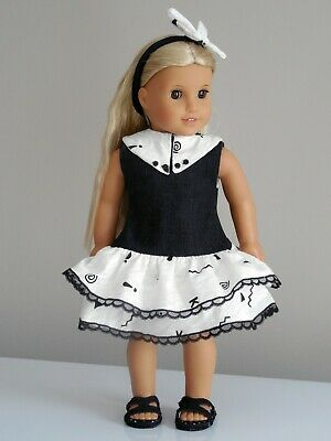 "Denim Knit Dress & Headband, 18"" American Girl Doll Clothes / AG Doll Clothes"
