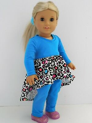 "Blue Knit Dress, Leggings & Shoes, 18"" American Girl Doll Clothes / AG Clothes"