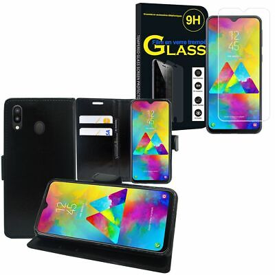 "Cover Case PU Leather Wallet Samsung Galaxy M20 6.3 "" M205F with Tempered Glass"
