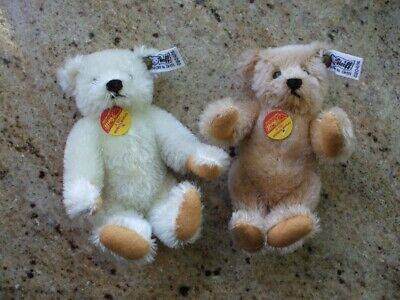 "Steiff Teddy Bears Tea Party Two 6"" Buttons + Tags Jointed Wool Cotton Ltd. Ed."