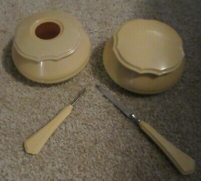 Dubarry French Ivory Pyralin Hair receiver & powder vanity box w/2 tools 1920s
