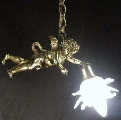 ANTIQUE c1890 CHERUB ANGEL CEILING LIGHT LAMP CHANDELIER FROSTED FLORAL SHADE