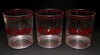 Set of 3 Live Savers Candy Drinking Glasses Plastic Vintage The Good Times Roll