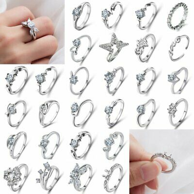 Women Lady Cubic Zircon Crystal Silver/Gold Plated Ring Wedding Party Charm Gift