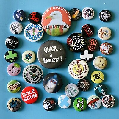 Job Lot Of Retro Vintage And New Button Pin Badges Bundle