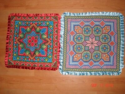 Handcrafted Needlepoint 2 Pillowcases Set Crafted by Ukrainian Craftswoman New