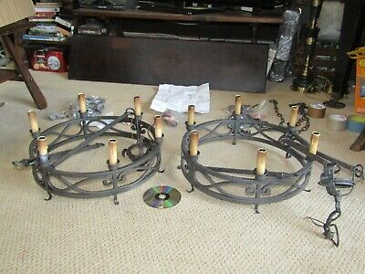 2 New Wrought Iron Chandeliers Al Parts 25Hx18-1/2Wx3-1/2H Body+ Candle=9In