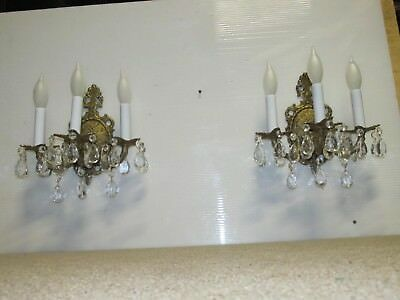 2 Spanish Sconces 3 Lights Ea.exc Wiring Rewired.finials Antique Sconces 36 Crys