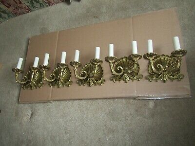 "Five 50'S Solid Brass Lrg  ""Scallop"" Sea- Shell 2L Sconces Exc Cond. Detailed"