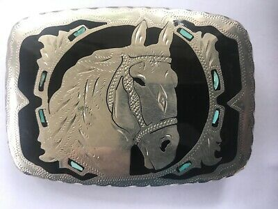 Vintage STERLING SILVER Equestrian Horse BELT BUCKLE Onyx & Turquoise EUC