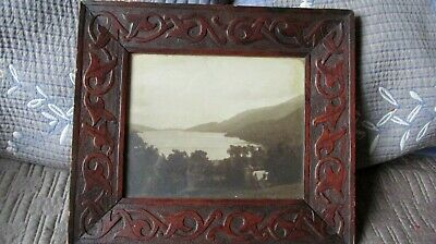 "Arts & Crafts / Celtic Glasgow School ? Carved Oak Picture Frame 13.5"" X 12"""