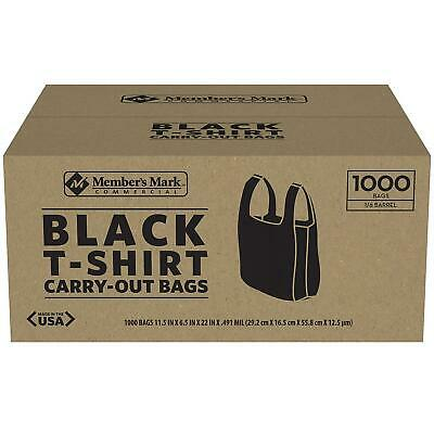 Member's Mark Black Large Plastic T-Shirt Carryout Bags (1,000 ct.) Made In USA