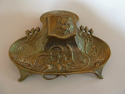 Antique Brass Art Nouveau Inkstand with single Inkwell- Circa 1900