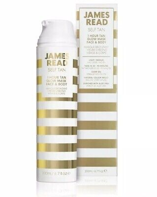 James Read 1 Hour Tan Glow Mask Face & Body 200ml Light/Medium NEW