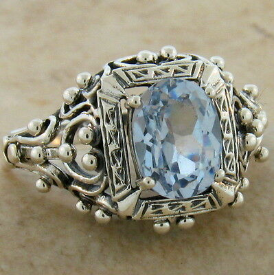 Antique Victorian Design Sim Aquamarine .925 Sterling Silver Ring Size 9,   #386