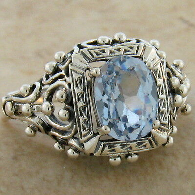 ANTIQUE VICTORIAN DESIGN SIM AQUAMARINE .925 STERLING SILVER RING Sz 10,    #386