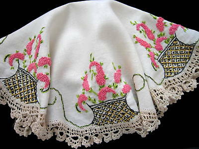 Antique VTG Arts Crafts Era Centerpiece Tablecloth Embroidered Crepe Myrtle