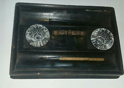 Antique 19th C  Wooden Desk Inkstand With Glass Inkwells 10 Inches X 7 X 1.5