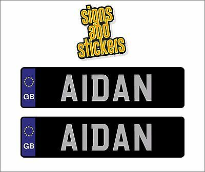 2 x KIDS PERSONALISED NUMBER PLATES CHILDREN RIDE ON CAR SELF ADHESIVE STICKERS