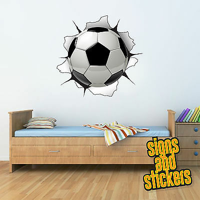 Childrens Football Wall Burst 3d wall art Sticker gaming room girls boys bedroom