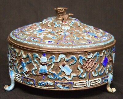 Chinese Enamelled Copper Covered Box, late 19th Century